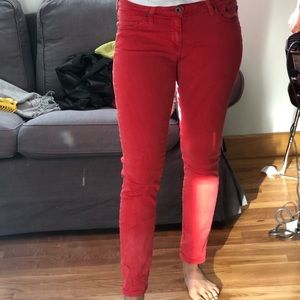 Red AG Stevie ankle Jeans like new!
